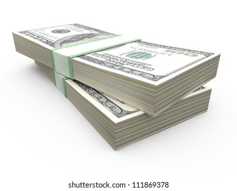 Stack of one hundred dollar bills row, isolated on white.