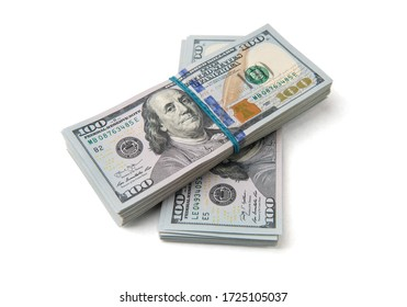 Stack of one hundred dollar bills close-up. - Shutterstock ID 1725105037
