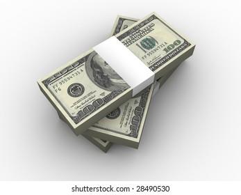 Stack of One Hundred Dollar Bills.