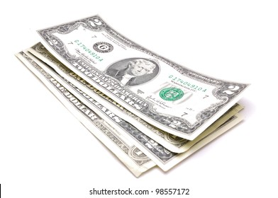 stack of one hundred dollar bills U.S. on white background