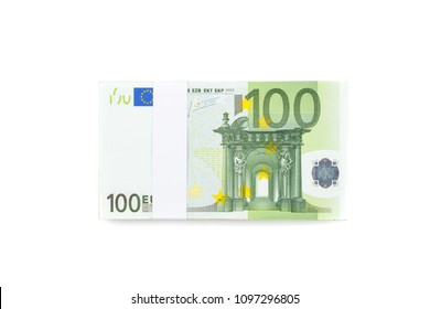 Stack of one hundred euro bills isolated on white background for financial, banking and business. Pile of 100 euro money banknotes.