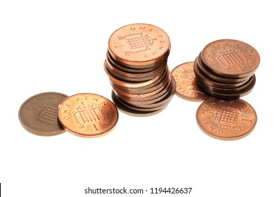 Stack of One Pence Coins