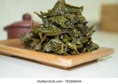 Stack of Oolong tea leaves.