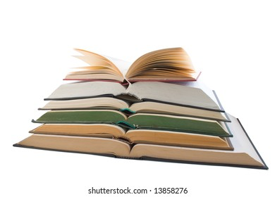 Stack of open books. Object over white.