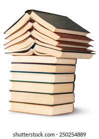 Stack of open and closed old books rotated isolated on white background