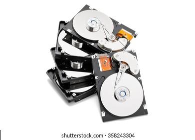Stack of open harddrives