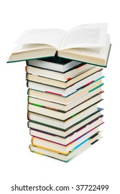 Stack and opened book isolated on white background