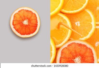 Stack of orange fruit and grapefruit slice background.
