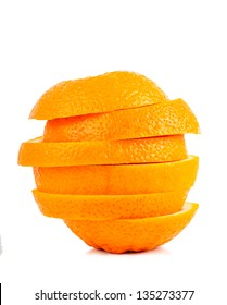 Stack of orange slices isolated over white background