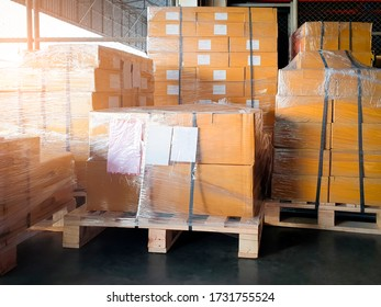 stack package boxes wrapping plastic on pallets, Interior of warehouse storage, warehouse industry delivery shipment goods, manufacturing plant shipping logistics and transport
