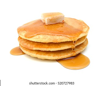 Stack of pancakes isolated on white background