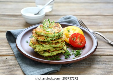 stack of pancakes from vegetable marrows, food closeup