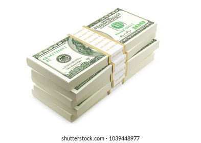 Stack Of Paper Dollar ON White