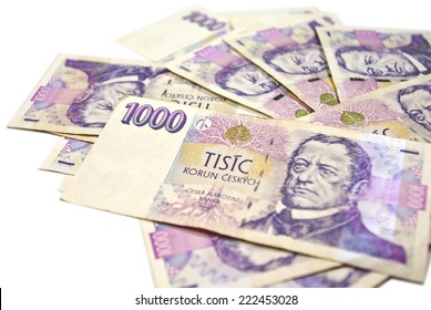 stack of paper money on white background