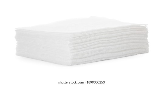 Stack of paper tissues on white background