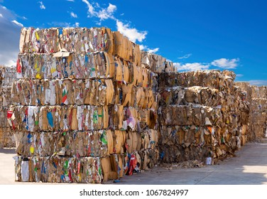 Stack of paper waste before shredding at recycling plant