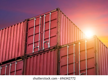 Stack pattern of colourful container at storage area with sunset/twilight sky,No labels,sea container /ship yard terminal,logistic concept,international import export commercial