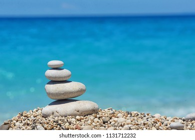 Stack of pebble stones in Lefkada, Greece