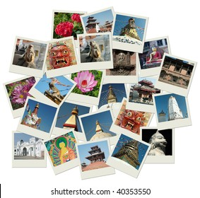 Stack of photo shots with Nepal landmarks