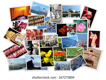 Stack of photos of Japan (author own's work) isolated on white background
