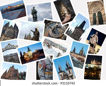 Stack of pictures with attractions and landmarks of Prague, Czech republic