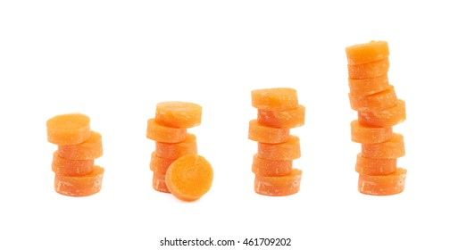 Stack pile of the baby carrot slices isolated over the white background, set of four different foreshortenings