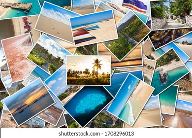Stack pile of Cape Verde landscape photo collage montage , Santiago, Sal, Boavista, Sao vicente
