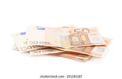 Stack pile of fifty euro bank notes isolated over the white background