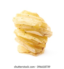 Stack pile of potato chips isolated