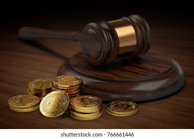 Stack or piles of Bitcoin in the court. Bitcoin taxation and legal issues concept. 3D rendering