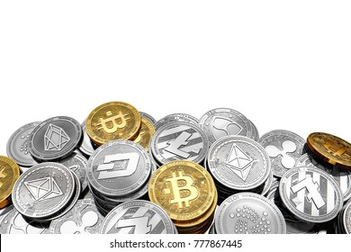 Stack and piles of Bitcoin and other different cryptocurrencies isolated on white background with copy space above. 3D rendering