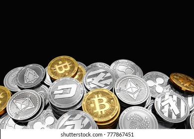 Stack and piles of Bitcoin and other different cryptocurrencies isolated on black background with copy space above. 3D rendering