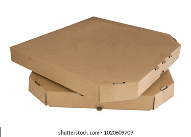 Stack Of pizza boxes isolated on white ackground. Closed brown cardboards. Template food carton paper package for delivery.