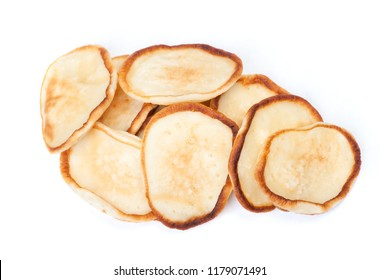 Stack of plain pancakes isolated on a white background