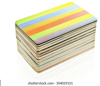stack of  plastic cards