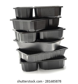 stack of plastic food container isolated on white background
