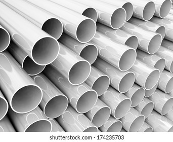 Stack of plastic pipes close up. High resolution image
