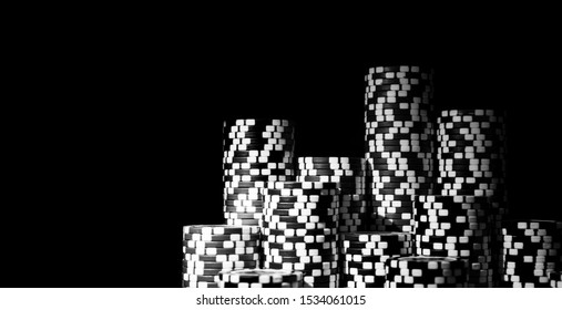 Stack of Poker chips isolated on black background. Poker game concept. Playing a game with dice. Casino Concept for business risk chance good luck or gambling. chips for poker game