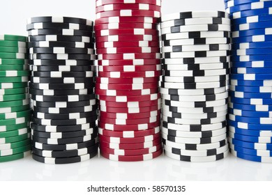 Stack of a poker chips on white background