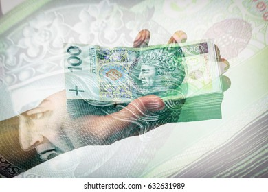 stack of polish banknotes in hand - 100 PLN, multiexposure effect