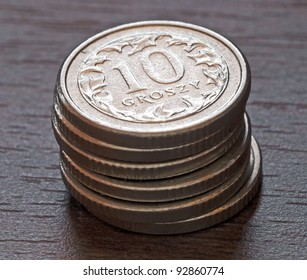 Stack of polish money - close-up. 10 groszy (cents)