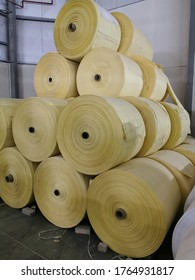 stack of polypropylene woven fabric rolls for pp woven sacks manufacturing