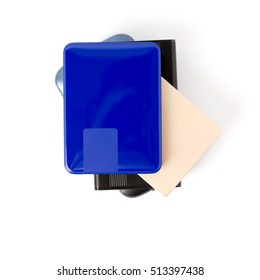 stack of portable hard disk drives isolated on white background.