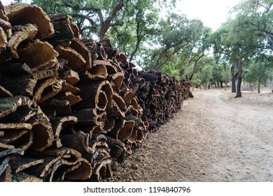 stack of portuguese kork oak bark