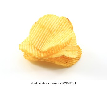 Stack of potato crisps isolated on white background.