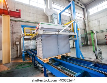 Stack of precast concrete slabs in a house-building factory