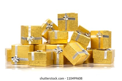 Stack of presents on white background