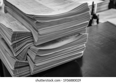 stack of printed newspaper circulation, press