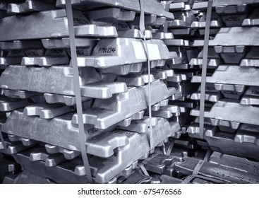 Stack of raw aluminium  in aluminium profiles factory