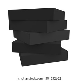Stack of realistic black boxes isolated on white background. 3d render
